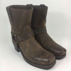 Frye 77455 Harness Brown Motorcycle Boots Size 7.5